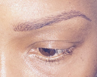 The perfect solution to eyebrow loss, thicker ibrows immediately with removable stickers semi permanent  eyebrow tattoos no blood no needles