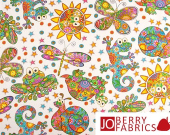 Bright and Whimsical Designer Fabric with Butterflies, Frogs and Turtles, Bugaboo Collection by Mandy Jo for Blank Quilting, Quilt or Craft