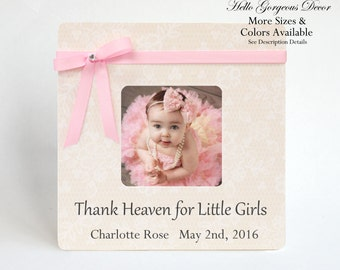 Baby Girl Frame Personalized Gift Ideas Newborn Picture Frame Baby Keepsake Baby Shower Gift Push Present New Mom Photo Frame Nursery Decor