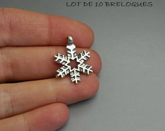 SET of 3 charms silver winter snowflake Christmas (35)
