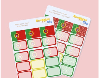 Portugal Flag Half Box Planner Stickers