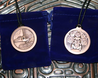 """Thunerbird Whale & Raven Wolf Copper SpindleWhorl Native inspired 1.5"""" medallion necklace."""
