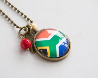 Flag of South Africa Necklace - African Flag - World Flags - Patriotic Pendant African Flag - Custom Jewelry Travel Necklace - Flag Jewelry
