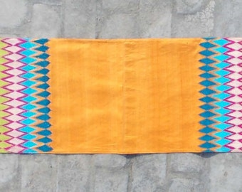 """Silk table runner, ikat pattern, multicolor embroidery, bohemian, asian, bright colors, size 14""""X72"""""""