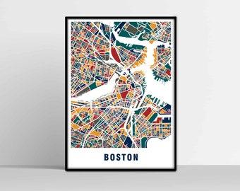 Boston street map Etsy
