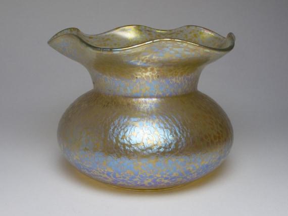 Antique 1900s Art Nouveau Loetz Papillon Glass Vase