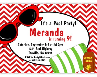 Pool Party Invitation - Red Chevron, Sunglasses and Beach Towel Personalized Birthday Party Invite - a Digital Printable File