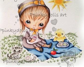INSTANT DOWNLOAD Digital Digi Stamps..by Chrishanthi's art,Easter piknik''