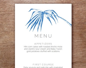 Navy Palm Frond Wedding Menu Template - Instant Download - Wedding Menu - Printable Menu Template - Menu Template - Menu Cards - Menu PDF