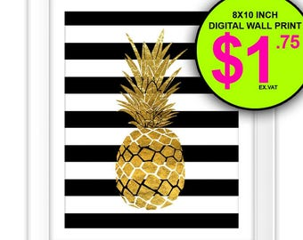Pineapple Print, Instant Download, 8x10 Inch, Digital Print