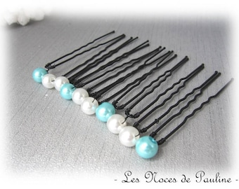 White and turquoise hair has simple set of 10