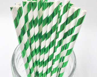 Green & White Foil Stripe Paper Straws