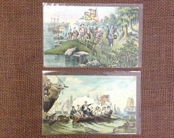 Pair unused antique German postcards color art print American historical scenes John Smith Perry Americana collectible ephemera souvenirs
