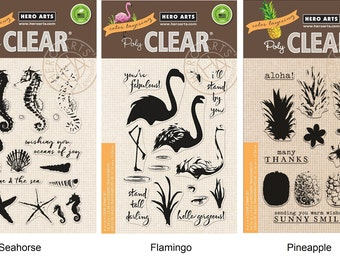 "Hero Arts Color Layering Clear Stamps 4""X6"" - Seahorse, Flamingo, Pineapple"