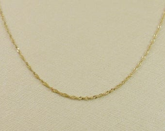 14k gold chain, gold necklace, yellow gold necklace, Singapore necklace