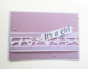 It's a girl Card, New Baby Boy Card, Blank Baby Shower Invitation, Baby shower Greeting card, purple card, handmade girl card