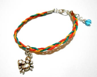 Child bracelet braided cotton crab kawaii