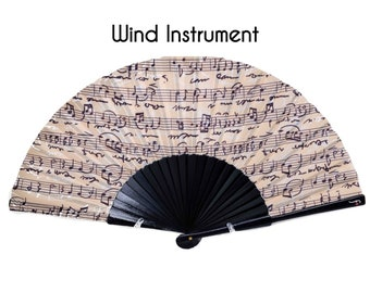 FOLDING FAN | Vintage music notes print | fashion accessories | unique gift for her | beige black hand fan | free shipping worldwide