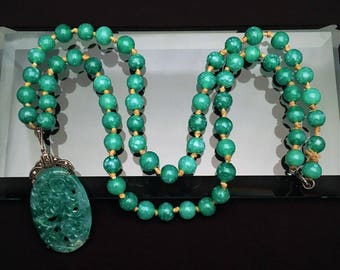 Vintage German Art Deco Era Sterling Silver, Peking Glass Faux Jade & Marcacite Necklace