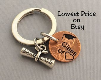 Graduation Gift - Class of - Graduation Keychain - Gift for Her - Stamped Penny - Son Gift For - Graduate - Gift for Him - Graduation Gift