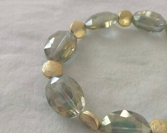 Soft Greens and Gold, Beaded bracelet