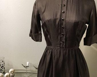Vintage 1960s Jeanne D'arc silk polka dot dress