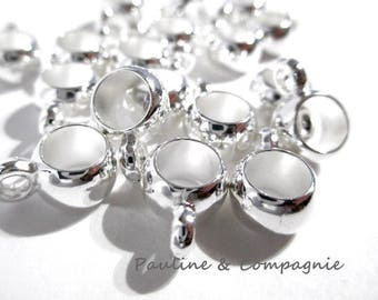 Set of 25 bails acrylic 7 mm silver color