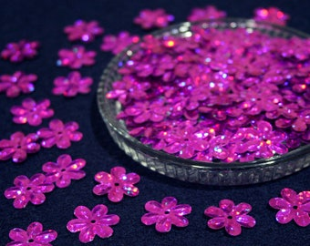 15 mm • Pink Glitter Flower Sequins