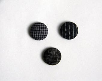 Lapel pin. Mens lapel button. Round boutonniere. Grey. Charcoal grey. Geometric buttonhole. Pinstripe. Gingham. Checkered.