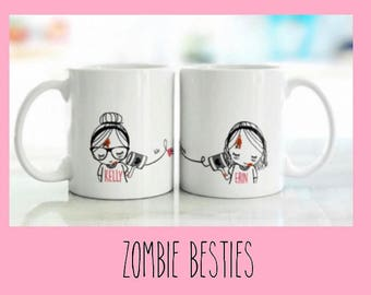 Best Friend Long Distance Coffee Tea Customized Zombie Gift Set