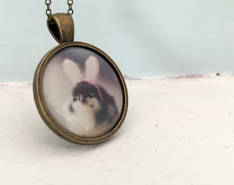 Chicks in Hats Pendant of A Chicken In Bunny Rabbit Ears Baby Animal Necklace Easter Gift
