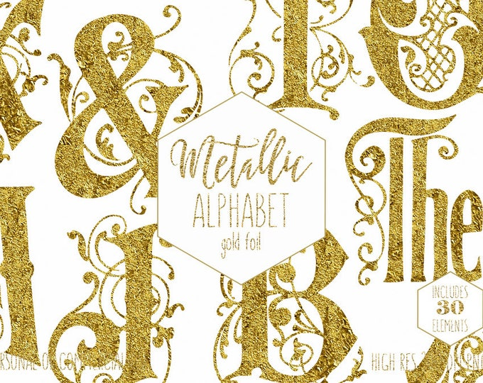 GOLD FOIL MONOGRAM Alphabet Clipart for Commercial Use Vine Wedding Letters Clip Art Pressed Foil Digital Alphabet Font Digital Graphics Png