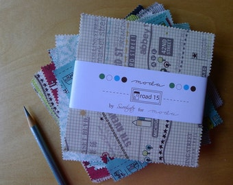 """Road 15 Charm Pack - Sweetwater for Moda (42) 5"""" x 5"""" Square Pieces - Modern Quilting Sewing Craft Cotton Fabric"""