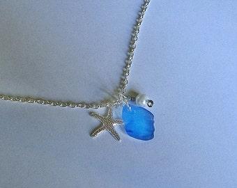 Sea glass necklace. Starfish beach glass necklace. Sea glass jewelry.