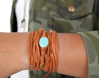 Braided Leather Choker | Turquoise Connector Boho Necklace  | Leather Bracelet/Armband Wrap | Necklace Lariat Choker Gift for Her
