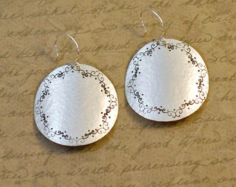 """Sterling silver, 1-1/2"""" disk, round earrings, handstamped, hammered, nature, whimsical scroll, large, statement, western, cowgirl bytwilight"""