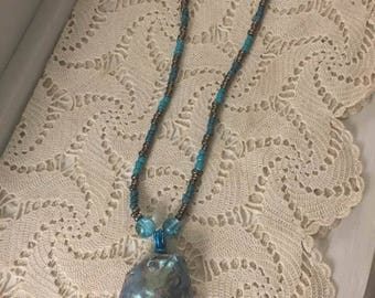 Teal Pearl Shell Necklace