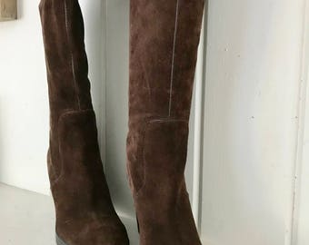 Wedge Brown Suede Boots