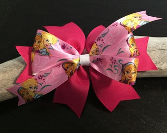 Pink Frozen Girl's Hair Bow - Large Pink Frozen Bow, Valentine's Day Bow, Girls Bows, Anna and Elsa Bow, Girls Bows, School Bows