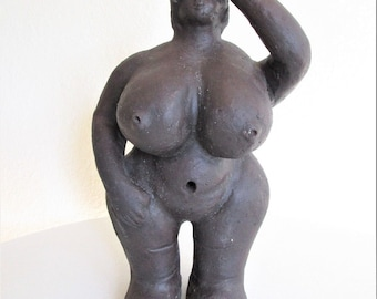 Naked Woman Large Clay Full Figured Big Hip Woman Outsider Art Folk Art Statue Outsider Art