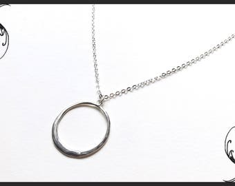 Friendship Jewelry Round Hoop Sterling Silver Pendant Necklace Anniversary Gift Eternity Infinity Love Birthday Present Organic Circle 925