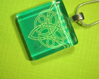 St. Patrick's Day Glass Pendant Necklace with Silver Chain Necklace
