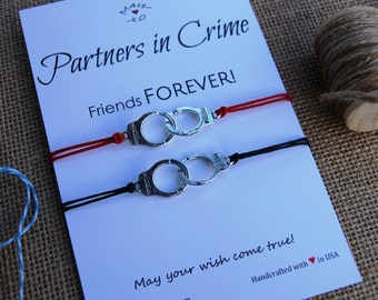 Partners in Crime Bracelet BFF Gift Wishing Bracelet Friendship Bracelet Couple Bracelet Handcuffs Bracelet Handcuffs Charm Gift for Friend