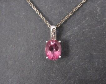 Vintage 14K 3 Carat Pink Topaz Diamond Pendant