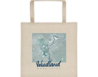 Woodland Washington Tote bag cotton canvas.. gift.. souvenir map painting art