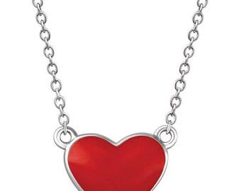 "Sterling Silver Red Enamel Heart 18"" Necklace"