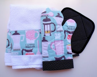Coffee French Roast with Black pin dot Oven Mitt Pot Holder Set
