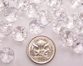 100x 10mm octagon crystal suncatcher beads 1 hole CLEAR. Used for making suncatchers, chandelier repair, jewellery rainbow craft prisms