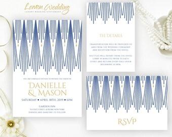Art Deco Wedding Invitation sets  printed | Navy blue and gold wedding invitations kits | Inexpensive wedding cards