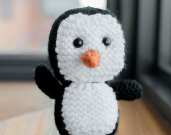 Mini Knitted Plush Penguin - Toy, Baby Shower, Stuffed Animal, Nursery, Desk Companion, and more
